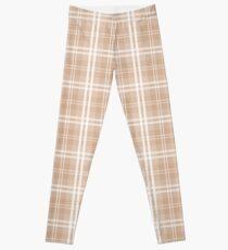 Spring 2017 Designer Color Light Hazelnut Brown Tartan Plaid Check Leggings