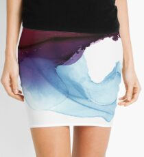 Shades of Purple, Abstract Fluid Artwork Mini Skirt