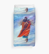 Surviving Native American Woman Mom Gathering Wood Winter Snow Snowy Female Storm Wilderness Strong Powerful Blizzard Boots Mother Jackie Carpenter Art Gift Gifts Indian Duvet Cover