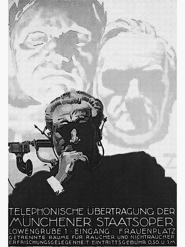 Beethoven and Wagner as background to a man using the listening device…1930s by edsimoneit