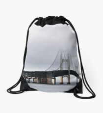 Morning fog on the bridge Drawstring Bag