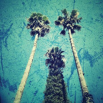 Palm trees on a turquoise blue background by Yomanow