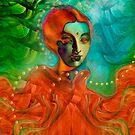 """«""""Mujer exótica en selva tropical verde y naranja""""» de MarCanton"""