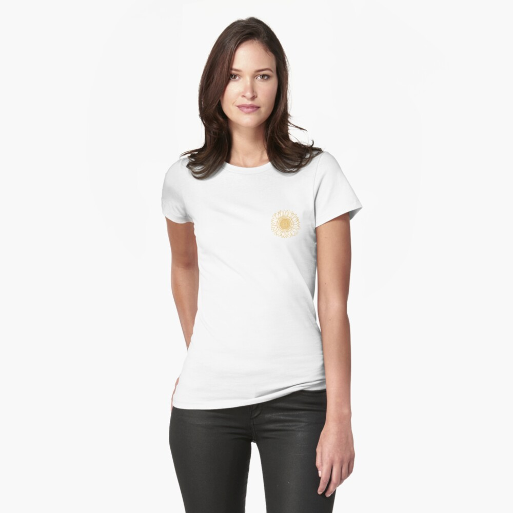 Yellow Flower Drawing Tapestry Fitted T-Shirt