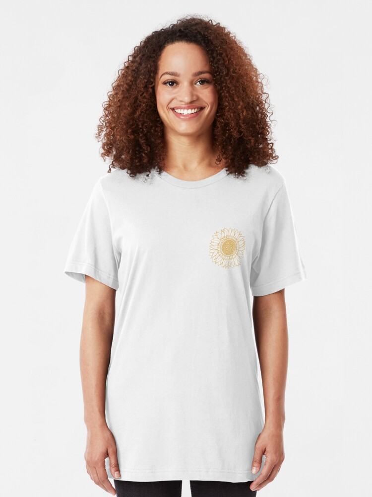 Alternate view of Yellow Flower Drawing Tapestry Slim Fit T-Shirt
