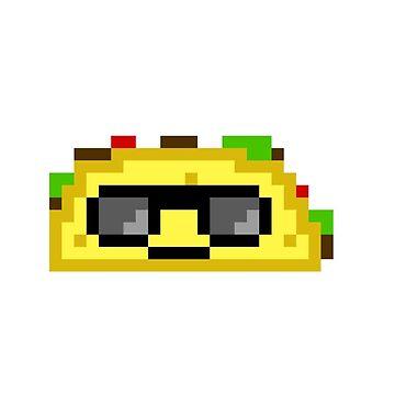 Taco Wearing Sunglasses Super Cool Pixel Art by oggi0