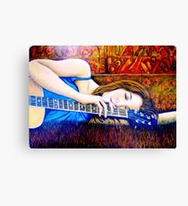 Guitar Girl in Landscape Canvas Print
