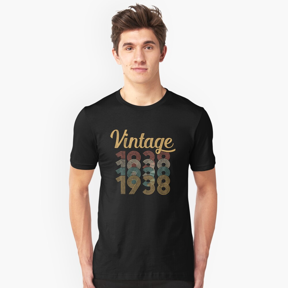 Vintage 1938 - 80th Birthday Unisex T-Shirt Front