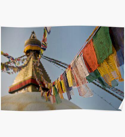 Stupa & Prayer Flags Poster