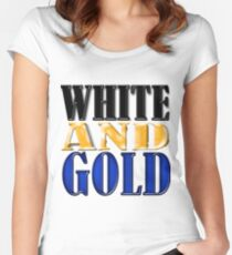 White and Gold Women's Fitted Scoop T-Shirt
