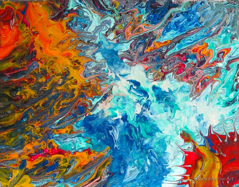 Fire Ice Abstract Painting By Brookearthurart Redbubble