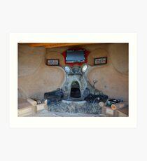 Earthship fireplace Art Print