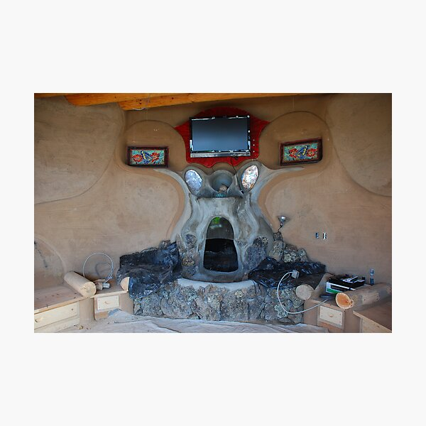 Earthship fireplace Photographic Print