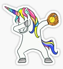 Tupfen Unicorn Softball Player Sticker