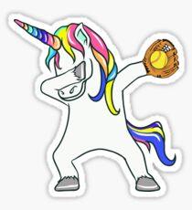 Dabbing Unicorn Softball Player Sticker