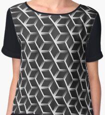 Black and White Abstract hexagonal background Cyberpunk futuristic geometric seamless luxury pattern Chiffon Top