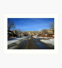 Snowy Road to the Mountain Art Print