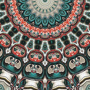 Turquoise And Orange Mandala by perkinsdesigns
