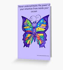 Yoga Butterfly in Namaste (purple background inspirational text) Greeting Card