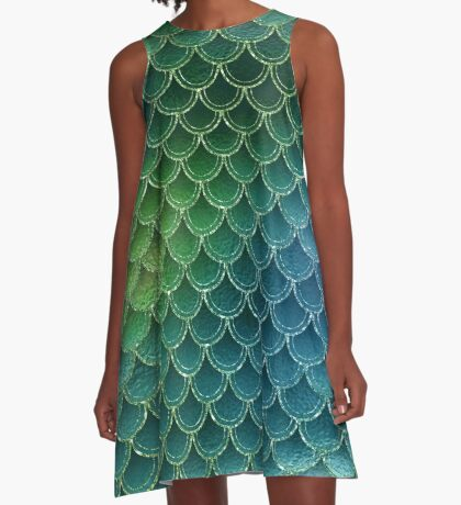 Mermaid Scales Glitter Dragon Gold Blue Yellow Sea A-Line Dress