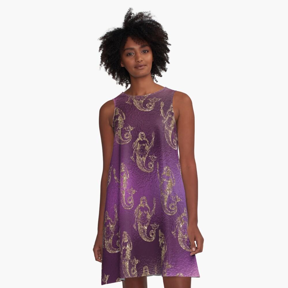 Mermaid Glitter Gold Ocean Sea Purple Pink A-Line Dress Front