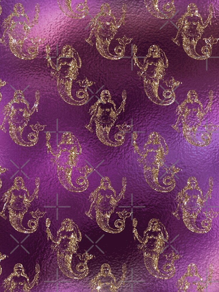 Mermaid Glitter Gold Ocean Sea Purple Pink by thespottydogg