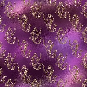 Mermaid Glitter Gold Ocean Sea Purple Pink by thespottydogg