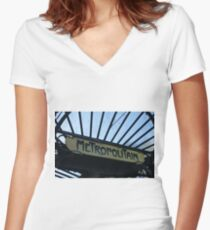 Paris Metro Signage Women's Fitted V-Neck T-Shirt