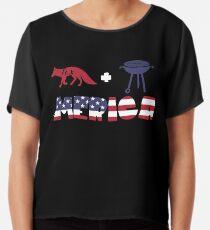Foxplus Barbeque Merica American Flag Blusa