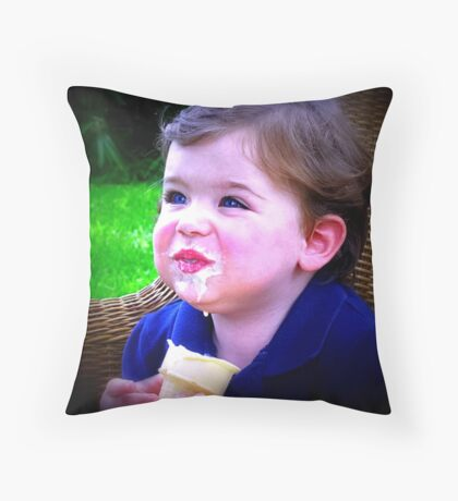 Like a child...just dig in!   Throw Pillow