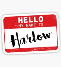 Hello My Name Is Harlow Name Tag Sticker