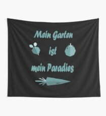 My garden is my paradise / gray blue Wall Tapestry