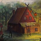 House in the Woods Painting  by yazsalem