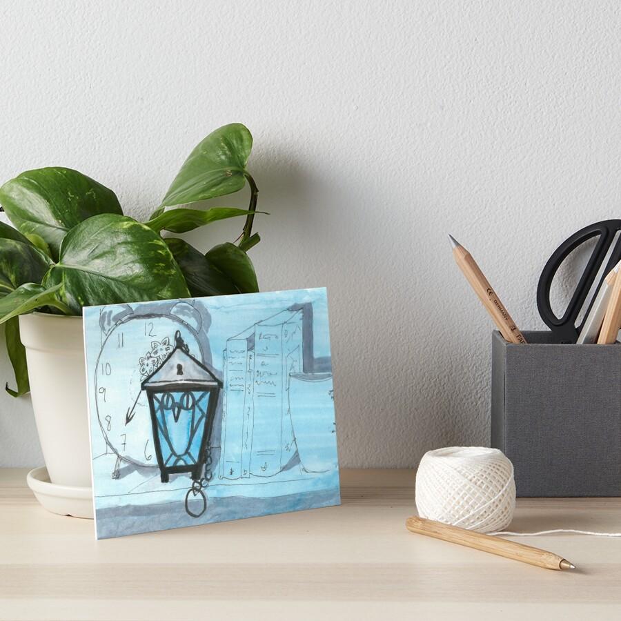 Bryn Mawr Light Blue Owl Lantern Art Board Print