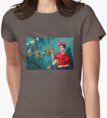 Frida Kahlo self-portrait with butterflies, pink flowers and green turquoise background grunge Fitted T-Shirt