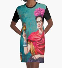 Frida Kahlo self-portrait with butterflies, pink flowers and green turquoise background grunge Graphic T-Shirt Dress