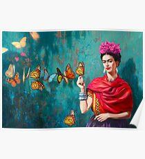 Póster Autorretrato de Frida Kahlo con mariposas, flores rosas y fondo verde turquesa grunge