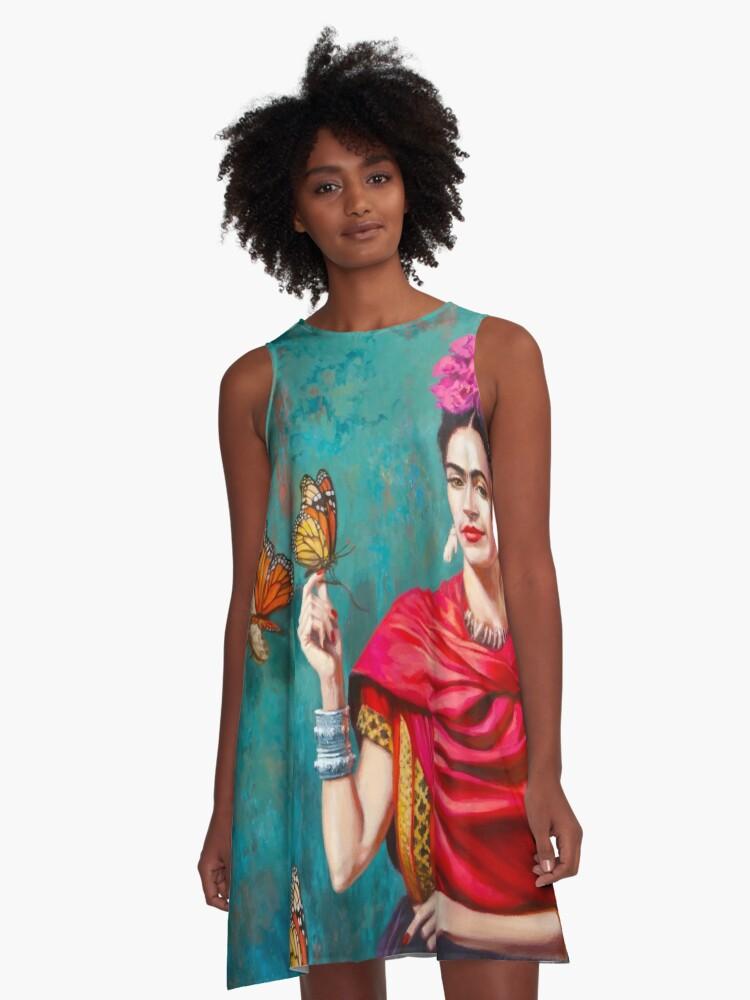 e3ae8dfd4 Vestido acampanado «Autorretrato de Frida Kahlo con mariposas ...