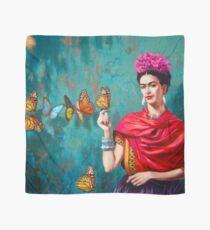 Frida Kahlo-Selbstporträt mit Schmetterlingen, rosa Blumen und grünem Türkishintergrundschmutz Tuch