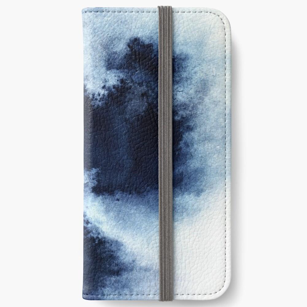 Indigo Nebula, Blue Abstract Painting iPhone Wallet