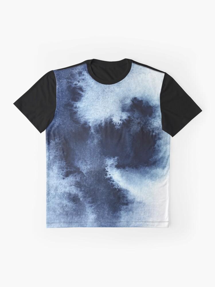 Alternate view of Indigo Nebula, Blue Abstract Painting Graphic T-Shirt