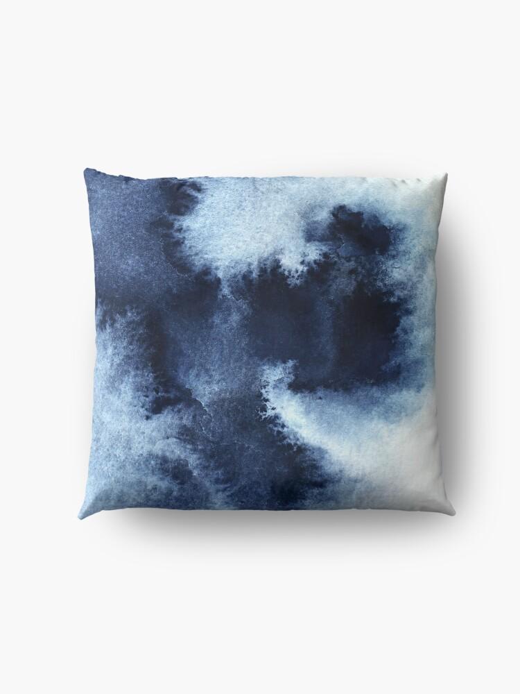 Alternate view of Indigo Nebula, Blue Abstract Painting Floor Pillow