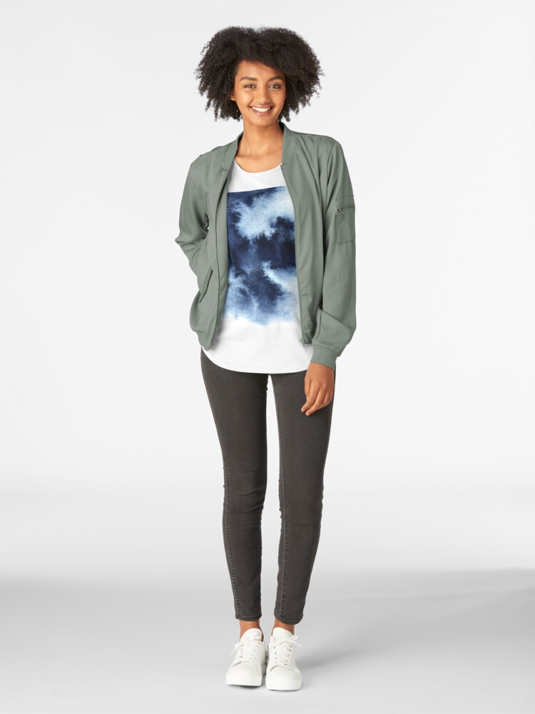 Alternate view of Indigo Nebula, Blue Abstract Painting Premium Scoop T-Shirt