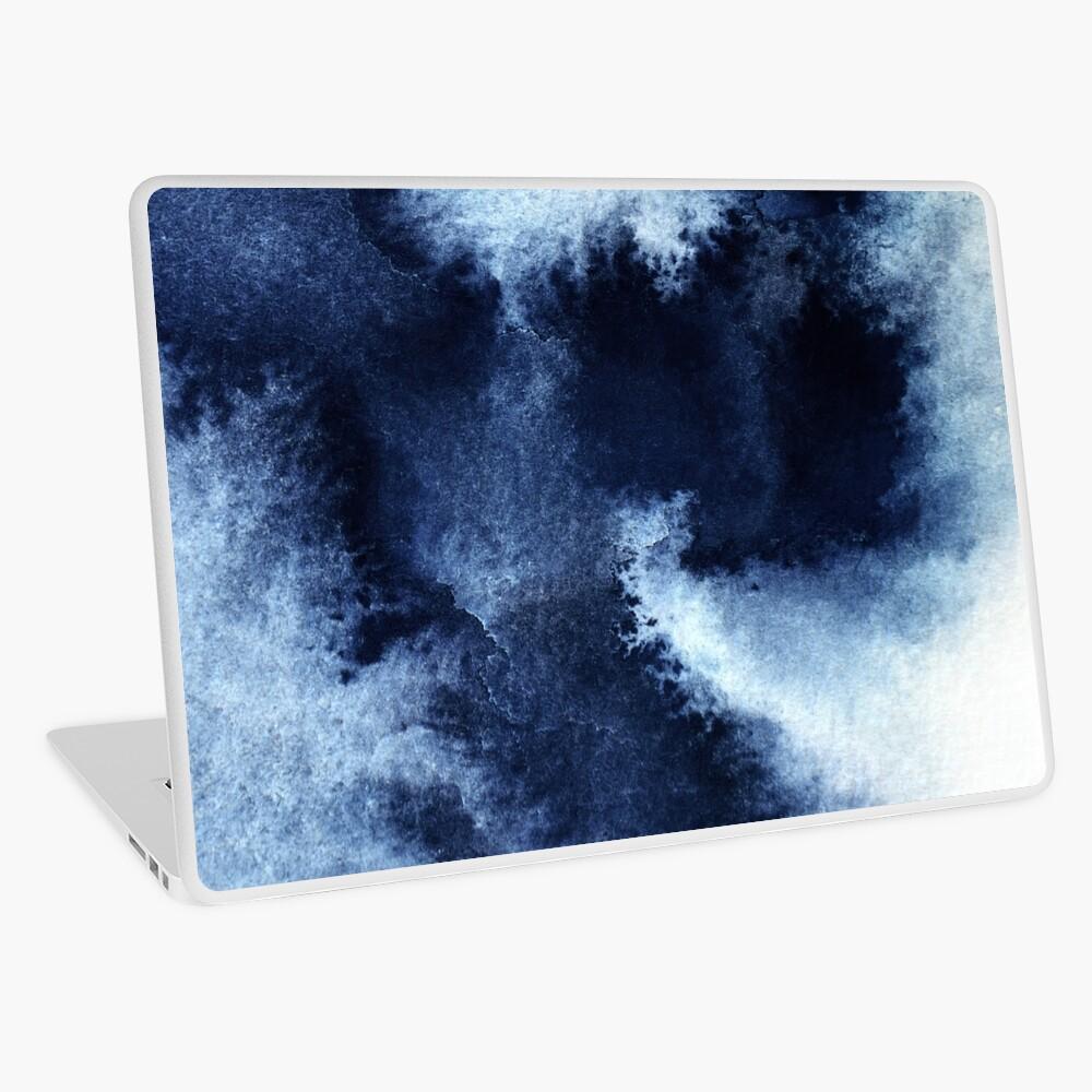 Indigo Nebula, Blue Abstract Painting Laptop Skin