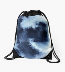 Indigo Nebula, Blue Abstract Painting Drawstring Bag