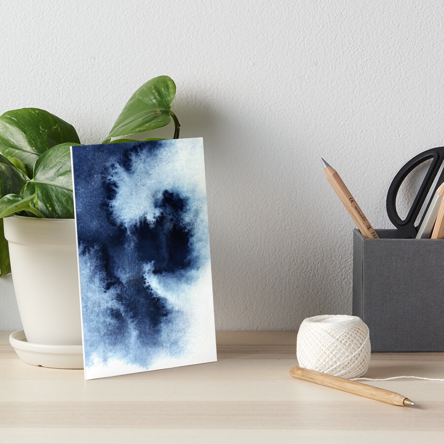 Indigo Nebula, Blue Abstract Painting Art Board Print