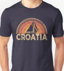 Vintage Croatia Sailing Vacation Design Slim Fit T-Shirt