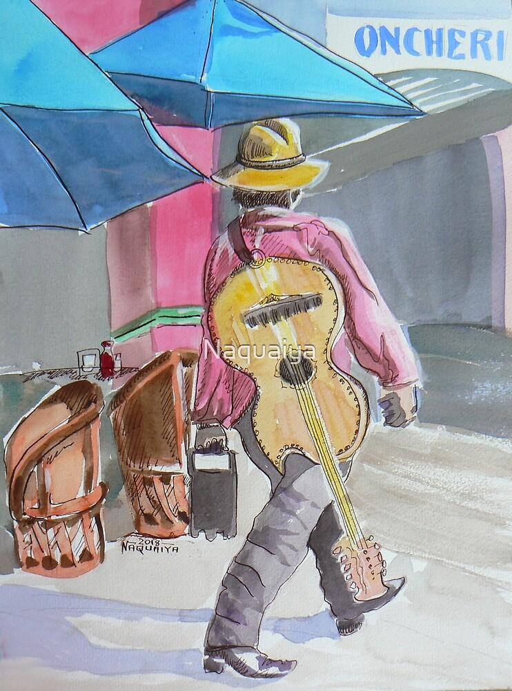 Guitarist plays colorful Mexico watercolor by Naquaiya