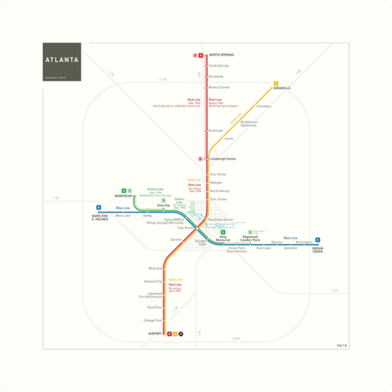 Atlanta Metro Map Art Prints By Jug Cerovic Redbubble