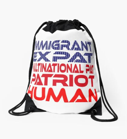 Multinational Thoughts on Our Patriotism: Immigrant Drawstring Bag